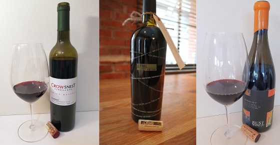 Crowsnest Vineyards Family Reserve Merlot 2014, Laughing Stock Vineyards Portfolio 2017, and Rust Wine Co Syrah 2017, Golden Mile Bench, South Rock Vineyard wines