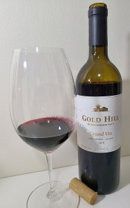 Gold Hill Winery Grand Vin Family Reserve Meritage 2016 with wine in glass