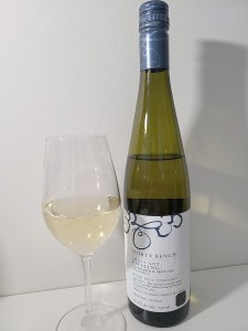 Thirty Bench Small Lot Riesling, Wood Post Vineyard, 2015 with wine in glass