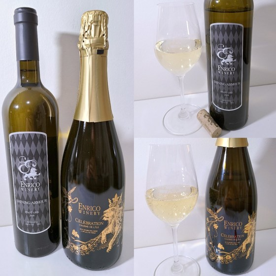Enrico Winery Celebration Charme de l'ile 2019 and Shining Armour Pinot Gris 2018 with wines in glasses