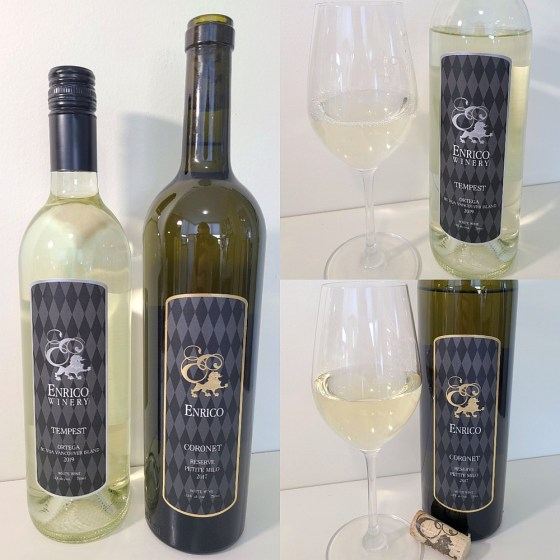 Enrico Winery Tempest Ortega 2019 and Coronet Reserve Petite Milo 2017 with wines in glasses