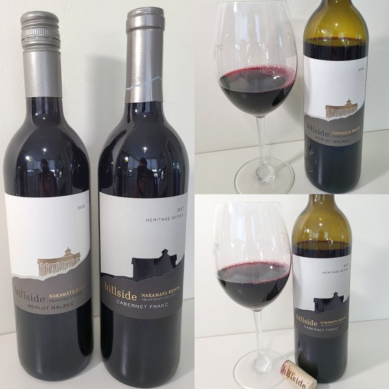 Hillside Winery Merlot Malbec and Heritage Series Cabernet Franc with wines in glasses