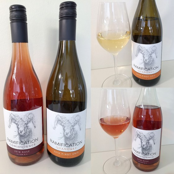 Ramification Cellars Consequence Rose 2018 and Quandry Pinot Gris 2018 with wines in glasses