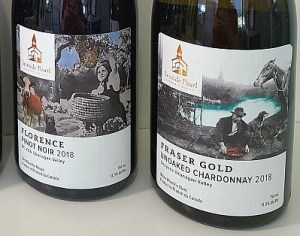 Seaside Pearl Farmgate Winery Florence Pinot Noir and Fraser Gold Chardonnay labels