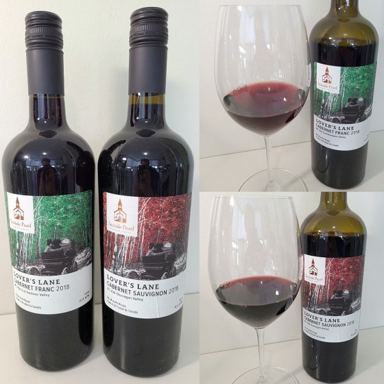 Seaside Pearl Farmgate Winery Lover's Lane Cabernet Franc and Cabernet Sauvignon 2018 with wines in glasses