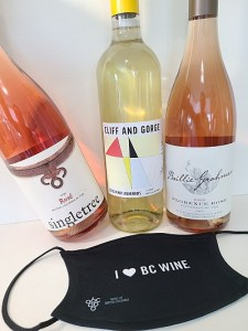Singletree Rosé 2020, Cliff and Gorge Vineyards Pinot Auxerrois 2020, and Baillie-Grohnam Rosé 2020 wines
