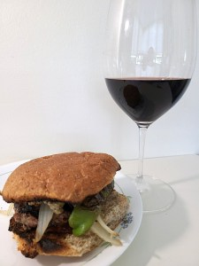 Stoneboat Pinotage 2007 with my burger