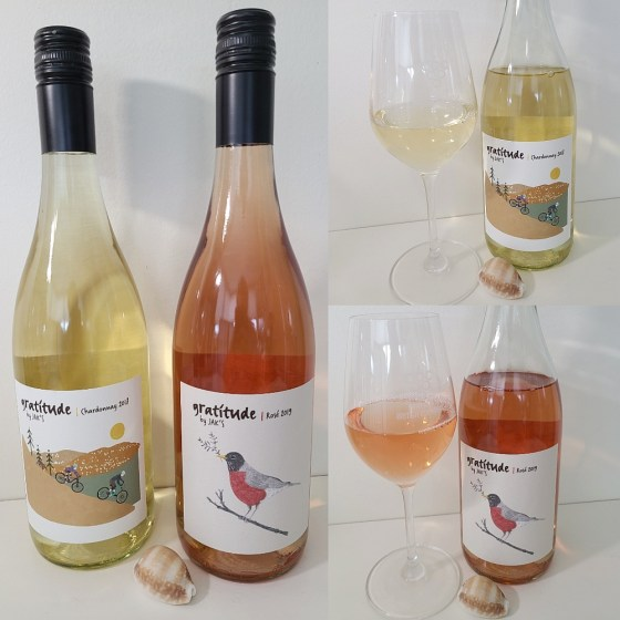 Gratitude by JAK's Chardonnay 2018 and Rosé 2019 with wines in glasses