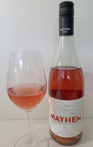 Mayhem Wines Rosé 2020 with wine in glass