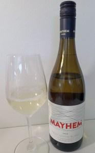 Mayhem Wines Sauvignon Blanc 2020 with wine in glass