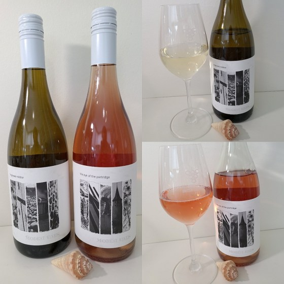 Modest Wines La Graves Robber and The Eye of the Partridge 2020 with wines in glasses
