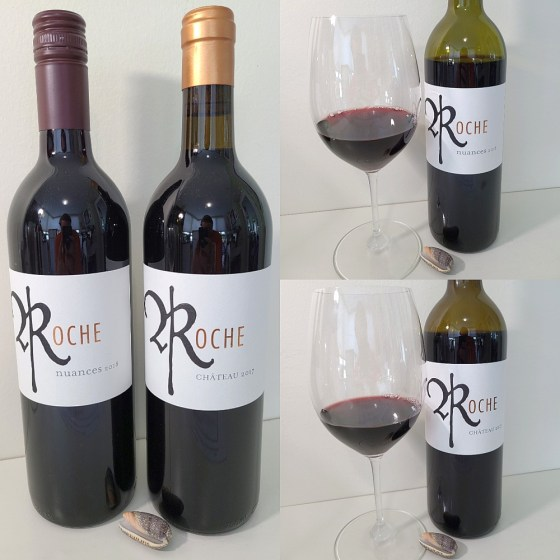 Roche Wines Nuances 2018 and Chateau 2017 with wines in glasses