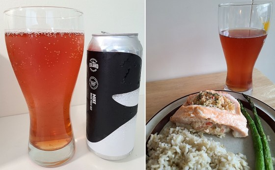 Whistle Buoy Brewing Rosé Pale Ale and pairing with stuffed salmon with pollock and cheese