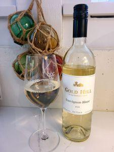 Gold Hill Sauvignon Blanc 2020 with wine in glass
