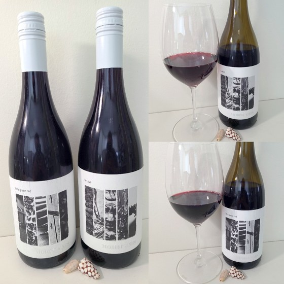 Modest Wines by Jove Sangiovese 2019 and the Modest Wines Little Green Red Petit Verdot 2018 with wines in glasses