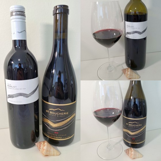 Mt. Boucherie Estate Winery Merlot 2018 and Reserve Syrah 2018 with wines in glasses
