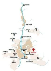 AOC Ventoux region location (courtesy AOC Ventoux)