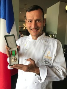 Provence Marinaside Owner and Chef Jean-Francis Quaglia and his Medal of the Ordre du Merite Agricole (PC Nancy Wong)
