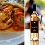 Tomato Acquerello Risotto, Grilled Prawn, Branzino and Clos du Soleil 2020 Rose