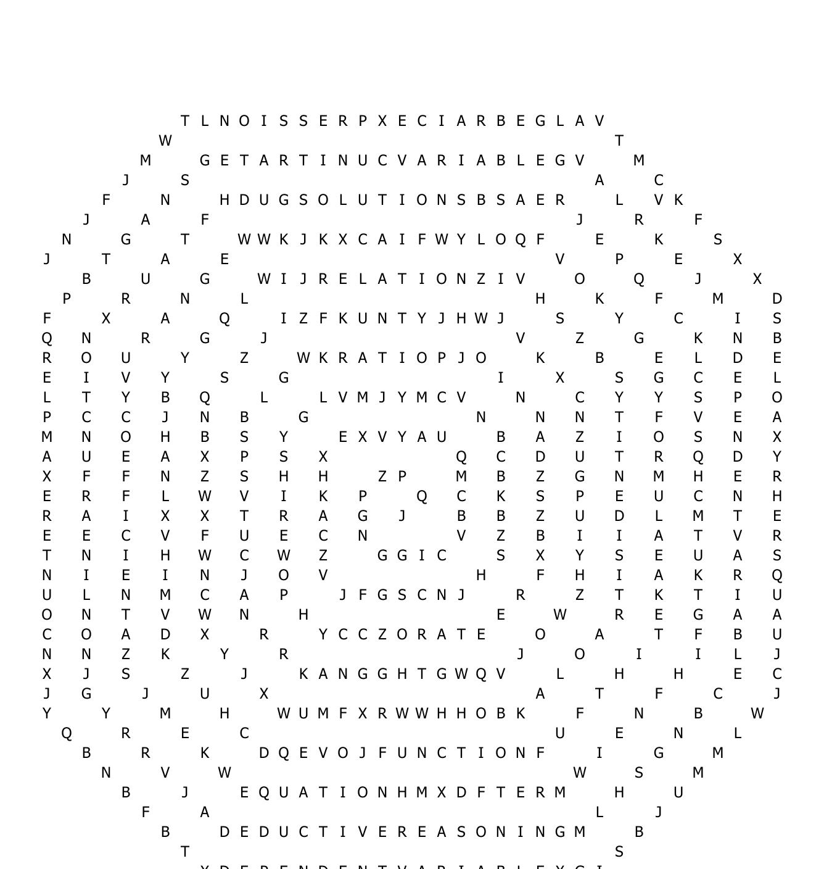 Algebra 1 Crossword Puzzle