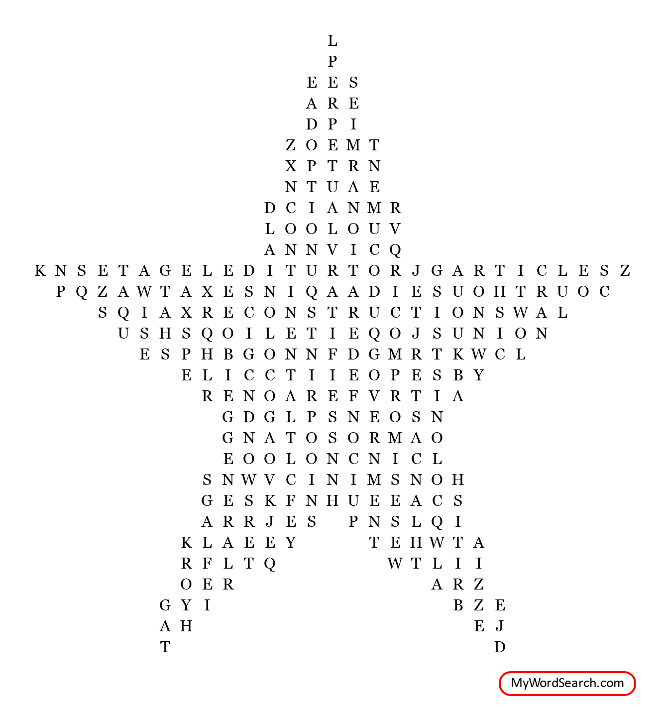 Articles Of Confederation Wordsearch