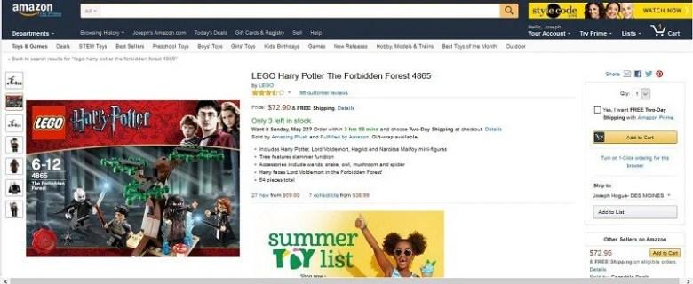 pagina del prodotto del venditore di Amazon