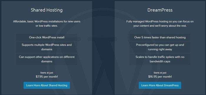 dreamhost wordpress che ospita siti Web