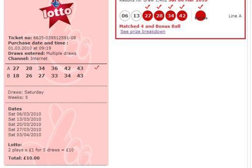 My winning numbers!