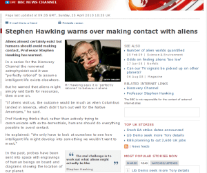 BBC News - Stephen Hawking warns over making contact with alien