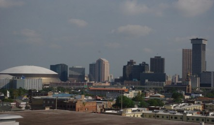 View from roof of New Orleans WorldMark Avenue Plaza Resort showing skyline of city and NFL Superdome