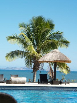 You can't get much better than this - the view from my deck chair by the pool at Wyndham Resort, Fiji