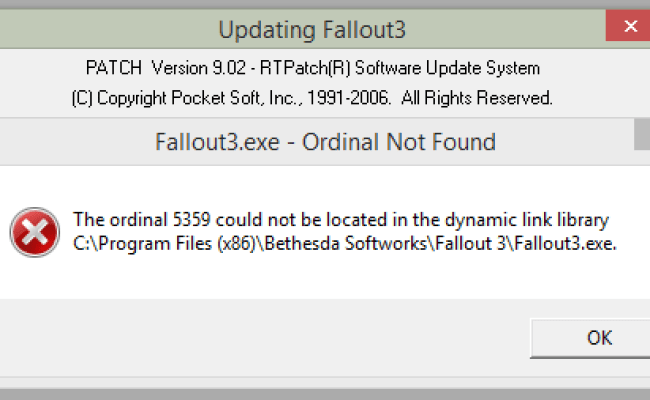 Fallout 3 Windows 8 The Ordinal 5359 Could Not Be