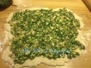 roll dough and top with mixture