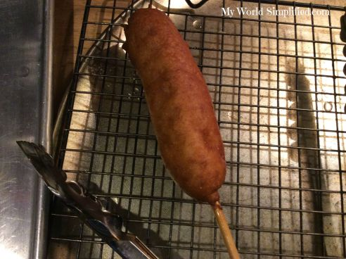 corn dog draining