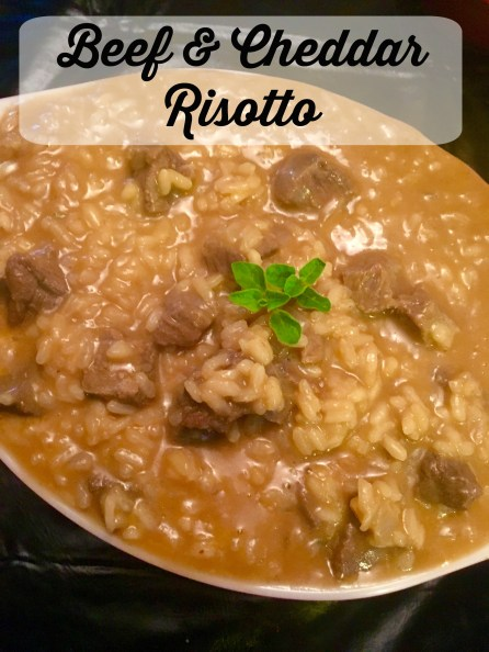 Beef and Cheddar risotto