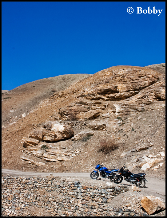 Bikes taking a breather at 14,025 feet.