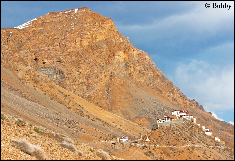 The Kye monastery stands on top of the hill, overlooking the Kye Village.