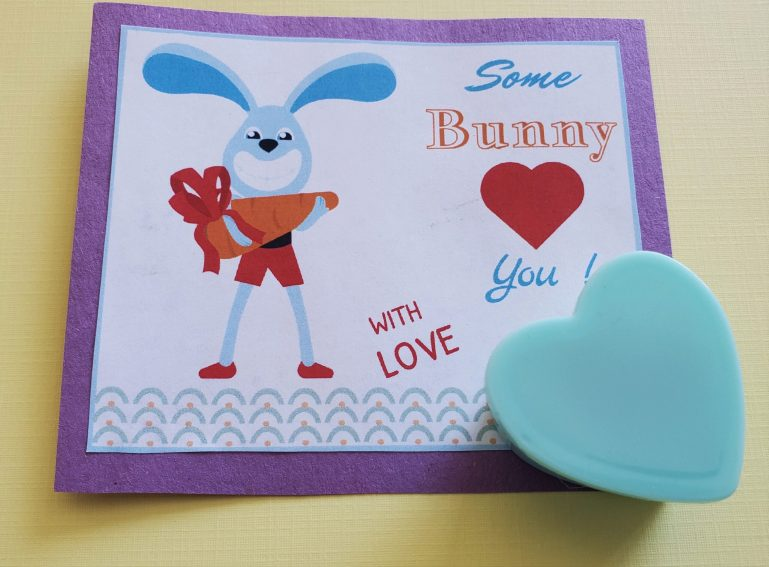 Bunny Valentine card with eraser