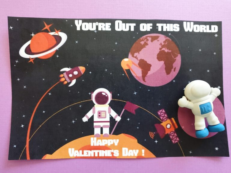 Out of the World Space themed valentine card