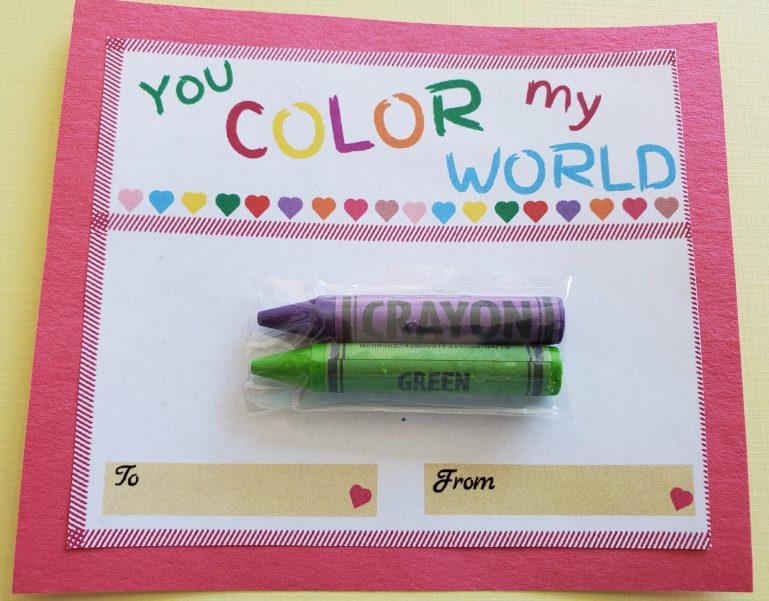 crayon valentine card