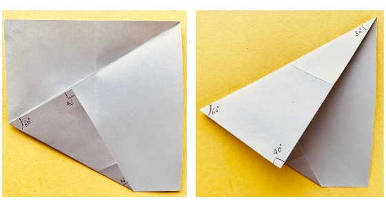 Fold the two triangles - paper protractor