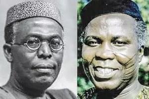 Chief obafemi Awolowo and Chief Samuel Ladoke Akintola