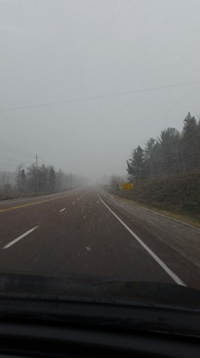 a snowstorm on our way home