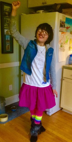 New boots and a favorite skirt. My fashionista!
