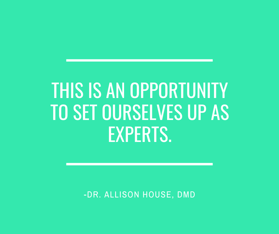 Inspirational Quote for Dentists by Dr. Allison House, DMD, with White text and green background