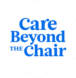 Zana Care Beyond the Chair Image with blue text and white background