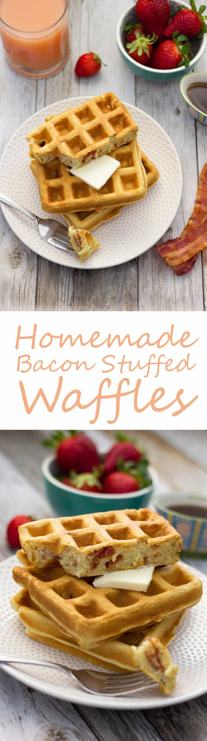 These homemade bacon waffles are fluffy, buttery and oh so delicous