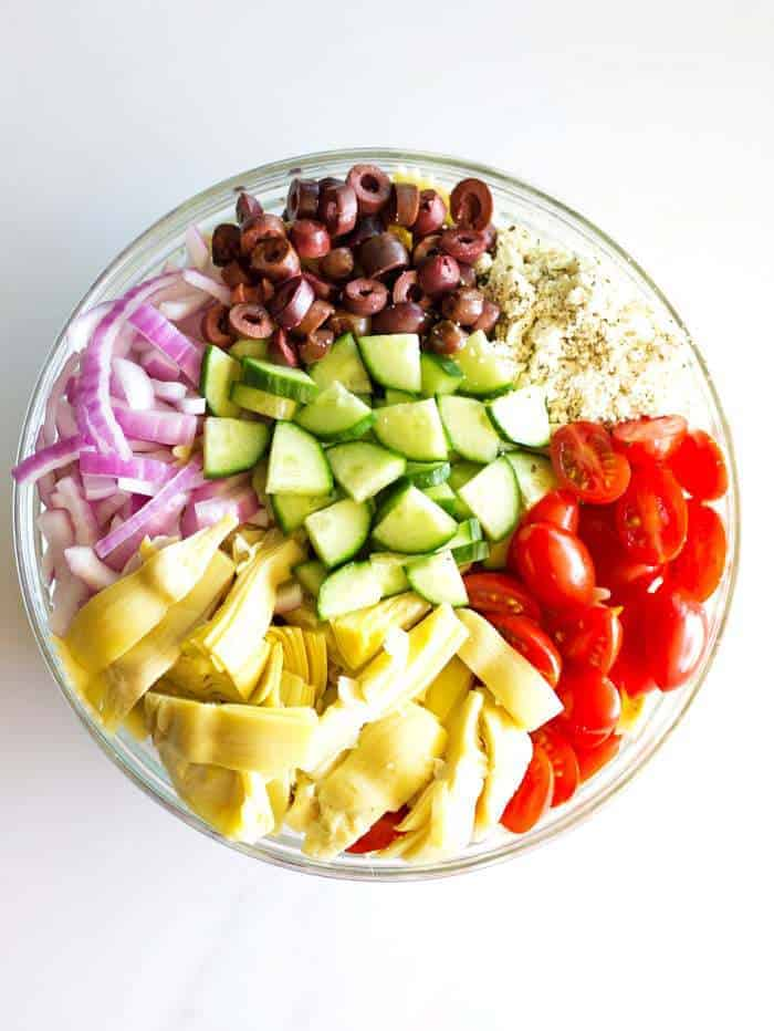 These simple and delicious ingredients make the most delicious and easy Greek Pasta Salad!
