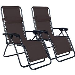 Zero Gravity Chair 2 Pack Hardwood Mat Canada Odaof Adjustable Infinity Set Of Outdoor Chairs Brown