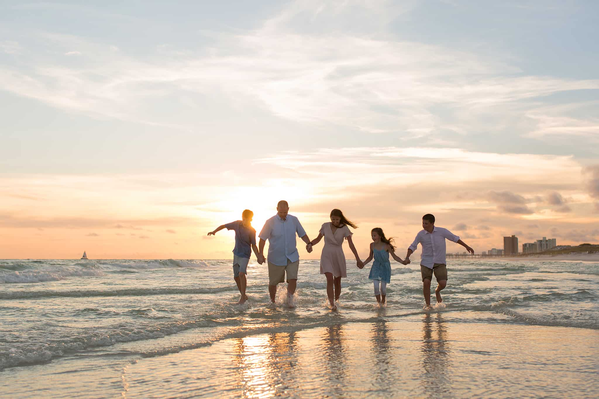family sunset pictures on